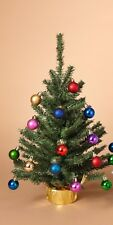 """GERSON 18"""" MINIATURE PINE CHRISTMAS TREE w/20 ORNAMENTS & ROUND BASE STYLE 1"""