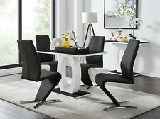 GIOVANI Black White High Gloss Glass Dining Table Set & 4 Leather Chairs Seater