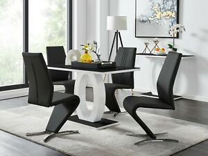 GIOVANI Black White High Gloss Glass Dining Table Set & 4 Faux Leather Chairs