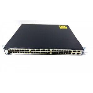 🌟CISCO WS-C3750G-48TS-S -E 48x10/100/1000 Gigabit +4xSFP IPServices +RK Kit