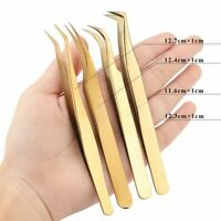 Professional Eyelashes Tweezers Lashes Extension Stainless Steel Tweezers Set
