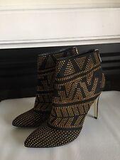 THALIA SODI High Heel Dressy Booties In Black And Gold Sz 7