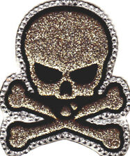 Skull Gold Glitter w/Rhinestones Biker Retro Goth Iron On Embroidered Patch
