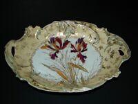 "Antique RS Germany Prussia Porcelain Bowl Irises Gold Trim Embossed Design 12"""