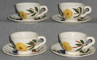 Set (4) Blue Ridge ERWIN PATTERN Hand Painted CUPS AND SAUCERS