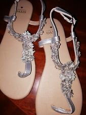 Ladies Oasis flat Strappy Silver Sandals Size 4