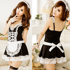 New Sexy Lingerie Maid Classical Lace Miniskirt Outfit+T-pant+Headwear Innovate