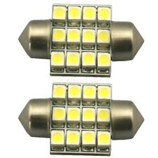 2x Xenon White 3528 LED Bulbs 27~28mm 12SMD Festoon Dome Map Light 3021 DE3022