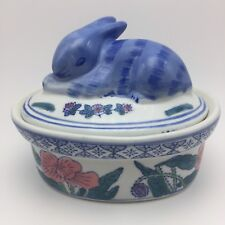 BEN RICKERT Bunny Rabbit Covered Ceramic Candy DIsh Signed