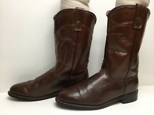 VTG WOMENS UNBRANDED WESTERN ROPER BROWN BOOTS SIZE 8 M