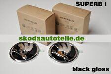 2x Nouveau Skoda exquise I 3u Emblème Logo Black gloss, brillant (Avant + Arrière)