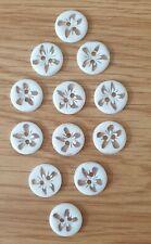 12 Botones de Resina de Flor Blanco Tamaño 14mm