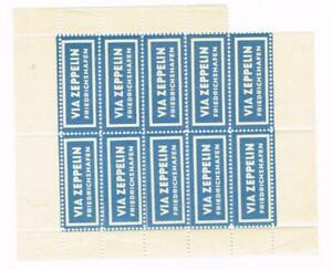 VIA ZEPPELIN FRIEDERICHSHAFEN-Germany-AIR MAIL LABEL-PANE OF TEN-SOME PERF