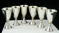 6 Quality Silver Toasting Goblets, London 1975, Mappin & Webb