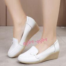 2019 Womens Leather Nursing Comfort Shoes Non Slip Oxfords Flats Nurse Work Shoe