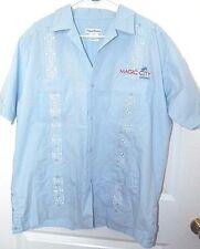 Tropical Breeze Mens Magic City Casino Light Blue Short Sleeve Shirt L Guayabera
