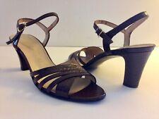 Vtg 70s Socialites Brown Snake Skin Embossed Leather Open Toe Sandal Heels~7.5Aa