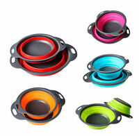 Folding Collapsible Silicone Colander Strainer Kitchen Fruit Filter Basket Small