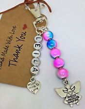 Personalised any name Guardian Angel Keepsake keyring gift miracle bead lucky