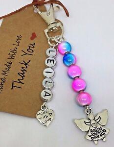 Personalised any name Guardian Angel Keepsake keyring gift miracle bead lucky