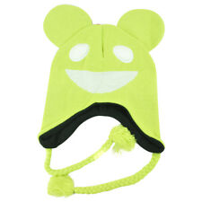 Deadmau5 Mens Mouse Fleece Lined Pilot Peruvian Knit Laplander Beanie Lime Green