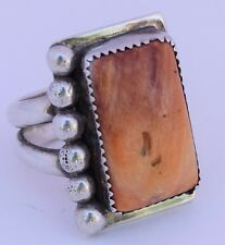 Vintage Native American Navajo Sterling silver Orange Spiny Oyster ring signed