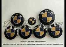 GOLD & BLUE CARBON FIBER BMW Badge Emblem Overlay HOOD TRUNK RIMS FITS ALL BMW