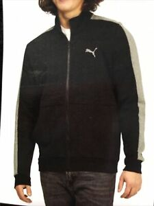 Puma New Men's Size Medium Black-Med Grey Heather Full Zip Track Jacket