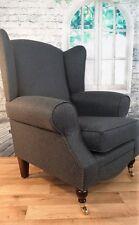 Queen Anne Wing Back Cottage Fireside Chair in Dark Grey Herringbone Fabric