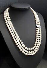 Dreireihige Süßwasser Perlen Kette mit 14k weiß Gold Verschluss