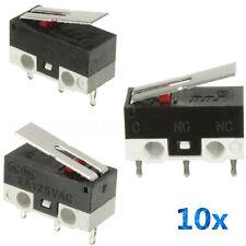 10 Pcs 2A 125V Micro Limit Switch Lever Roller Arm Actuator SPDT Snap Action LOT
