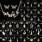 Fashion Stainless Steel Women Gold Jewelry Set Pendant Party Earrings Necklace