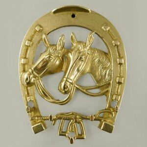 Hufeisen - Schlüsselbrett Pferde aus Messing Schlüsselhaken H:19x16cm