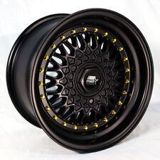 One 15x8 MST MT13 4x100/4x108 ET20 Matte Black w/Gold Rivets Wheel