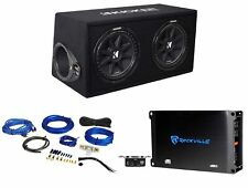 "KICKER 43DC122 Comp Dual 12"" Subwoofers+Vented Box+Mono Amplifier+Amp Wire Kit"