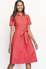 NWT $170 TALBOTS WOMEN'S LACE EMBROIDERED COLLAR PINK LINED SHIRT DRESS SIZE 12P
