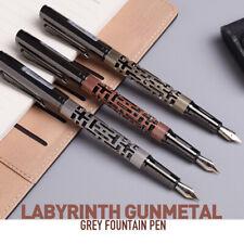Luoshi Labyrinth Gunmetal Fountain Pen Two Tone Gold Plated Steel Fine Nib Gift