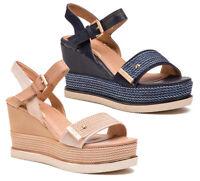 WRANGLER SUNNY JEENA scarpe sandali donna pelle tessuto zeppa plateau tacco