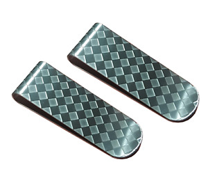 2 x Stainless Steel Silver Money Clip Holder Cash Gift Mens Wedding Favour