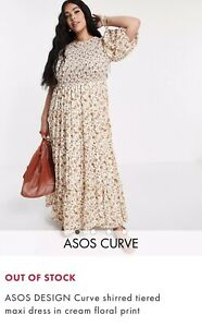 Asos Size 24 Curve Shirred Maxi Dress Cream And Floral Summer Dress