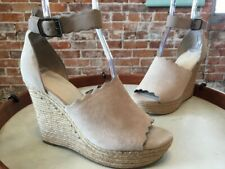 Marc Fisher Natural Taupe Haya Scallop Ankle Strap Espadrille Wedge Sandal NEW