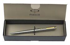 PARKER 95 STAINLESS STEEL & GOLD  BALLPOINT PEN NEW IN BOX