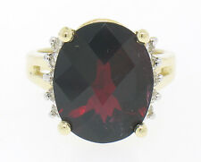 14k Gold Large Oval LARGE Checkerboard 9.30ctw Garnet & Diamond Cocktail Ring