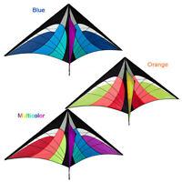 Outdoor 1.6M Huge Fying Kites Delta Stunt Rainbow Novelty Dual Line Delta Kite