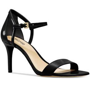 NIB Size 8.5 Michael Kors Simone Mid Patent Leather Black Sandals Heels