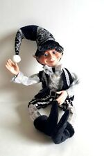 "Floridus elf, Clancy 20"", Christmas elf,tree ornament,black and white elf"
