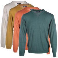 Men's V Neck Long Sleeved Pullover Jumpers Sweater