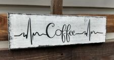 """farmhouse wood sign COFFEE heartbeat wooden rustic welcome kitchen small 12"""""""