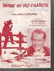 Smokin My Last Cigarette 1941 Sheet Music