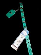 """OmniPet by Leather Brothers Studded Teal Collar 10"""" XXS XS"""